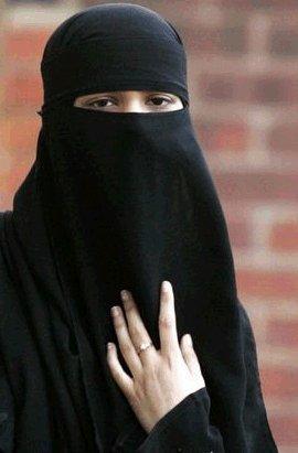 Muslim girl wearing a burka
