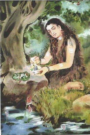 Akka Mahadevi worshipping Shiva's 'lingam' [= penis]. Illustration from Hindupedia.