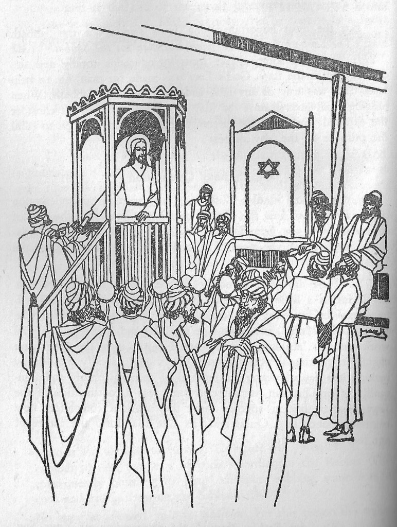 Jesus preaching in the synagogue of Nazareth. From Background to the Gospels.