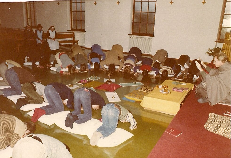Students of Absam seminary, Austria, prostrate during an Indian Mass I celebrated for them.