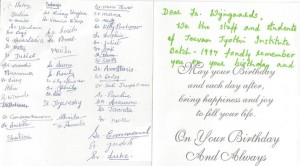 A birthday card from the batch of sisters studying in 1997